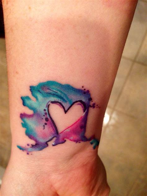coloured heart tattoo designs small size watercolor tattoos daily style