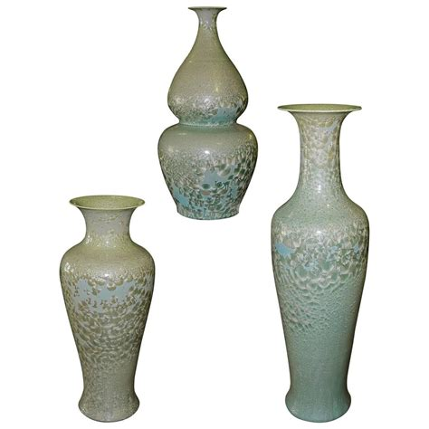 Floor Vases For Sale by Set Of Three Celadon Porcelain Floor Vases For Sale At 1stdibs
