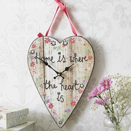 Wall Clock Art Home Is Where The Heart Is Country Heart Wall Clock Wood