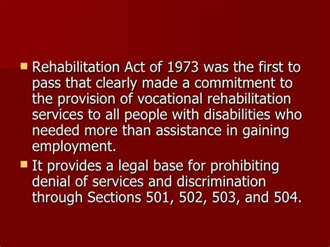 rehabilitation act of 1973 section 501 eex 504 one transition