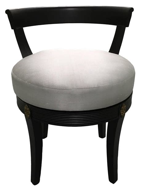Swivel Vanity Chair by Regency Style Black Swivel Vanity Stool At 1stdibs