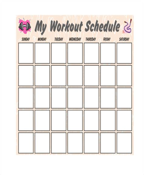 blank workout schedule templates 6 free word pdf