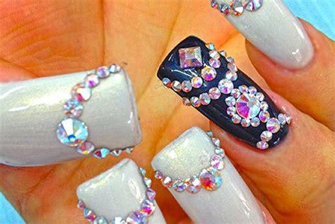 imagenes de uñas negras con blanco u 241 as con piedras en blanco y negro u 241 as decoradas top