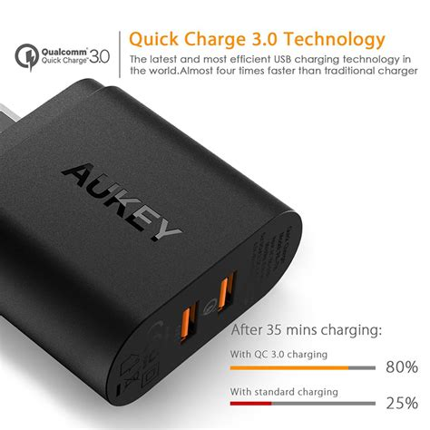 Aukey Charge 30 36w Dual Port Charger Pa T13 2 aukey usb wall charger 2 port eu 36w with qualcomm charge 3 0 pa t16 black