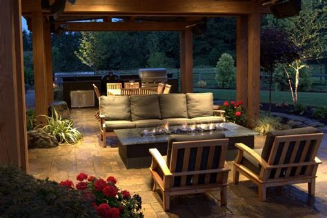 stunning gas fire pit beneath  covered patio   seattle