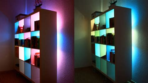 beautify your bookcases with custom colour changing lights