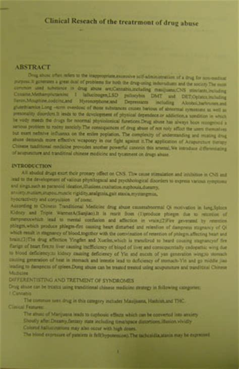 research paper on substance abuse american acupuncture herbal center