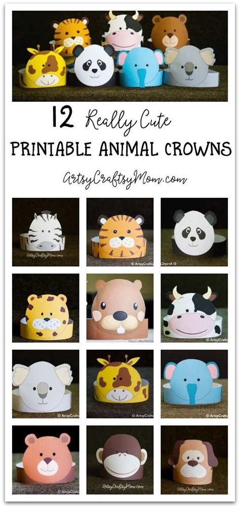 printable paper animal hats 12 adorable party animal printable hats for a jungle party