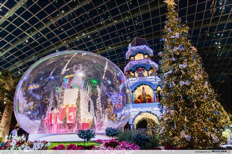 flower dome s christmas decorations are up and it looks