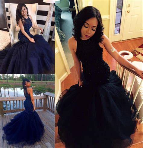 2016 African Black Prom Dresses Online Cheap Mermaid Long Evening Gowns Party Dress Beads Tiered