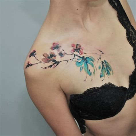tattoo on front shoulder front shoulder tattoos cool watercolor front shoulder