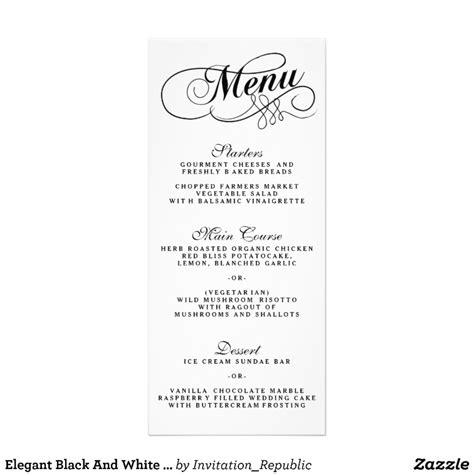 black and white menu elegant black and white wedding menu templates zazzle