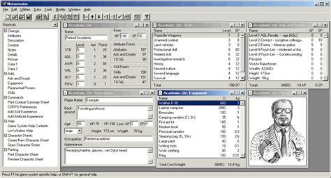 gurps npc character card template metacreator rpg character generator alterego software
