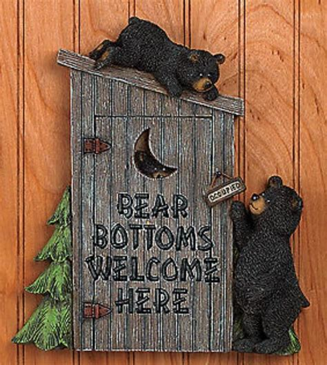 bear home decor black bear outhouse wall plaque bathroom home decor accent
