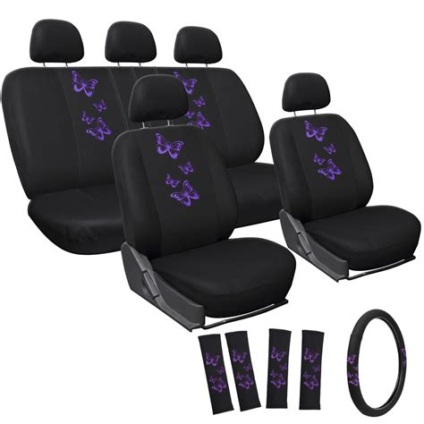 seat covers for cars car seat covers purple butterfly 17pc set for auto w steering wheel rests ebay