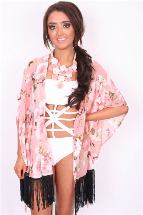 pink and black patterned kimono pink floral kimono with black tassels from dollywood