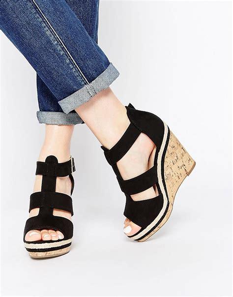 new look new look packer black gladiator wedge sandals