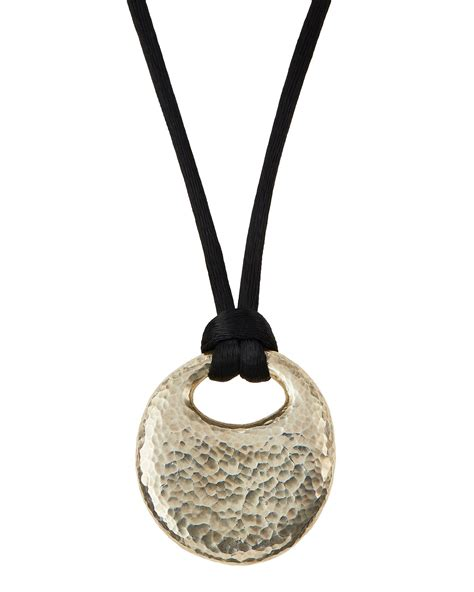 gurhan sterling pebble pendant silk cord necklace in