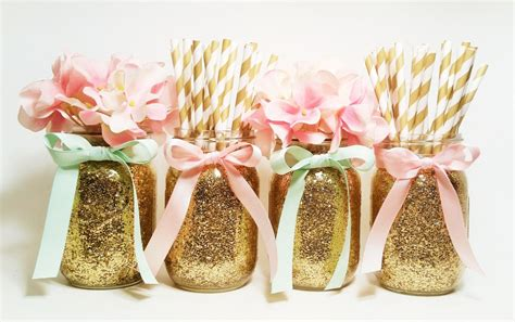pink and gold table decorations jars centerpieces pink and gold wedding