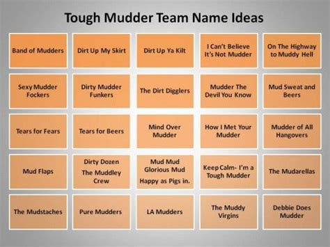 Race and more team names sports inspiration names ideas tough mudder