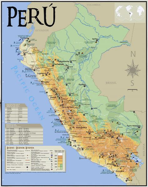 large map of large tourist map of peru peru south america