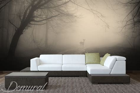 Wall Murals Living Room by Deer Living Room Wallpaper Mural Photo