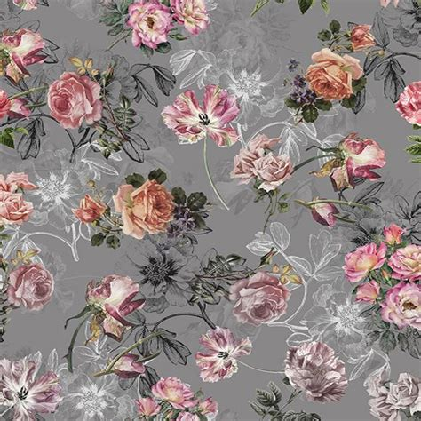 hot sale fox rolled grey background light pink flowers