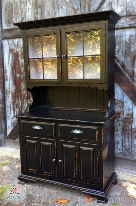 Distressed Dining Room Hutch Black Painted Hutch By Funcycled Www Funcycled