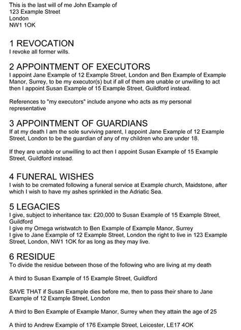 exles of wills free printable documents