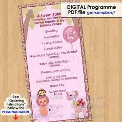 sweet safari party event programme program girls baby shower