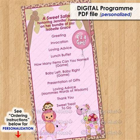 template for baby shower programs sweet safari party event programme program girls baby shower