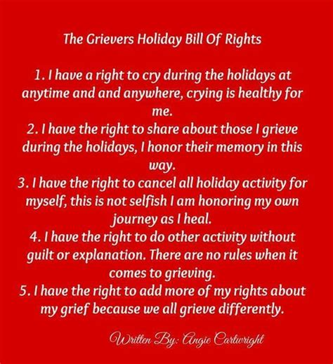 grievers holiday bill  rights  angie cartright holiday grief grieve grief quotes
