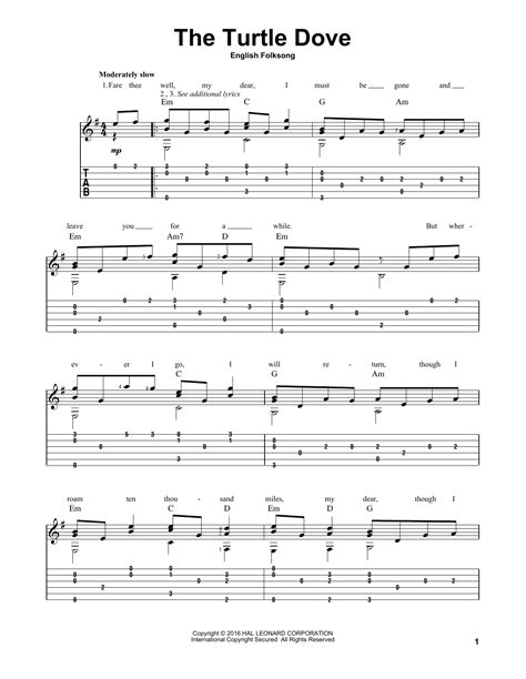 The Turtle Dove Sheet Music | Traditional English Folksong