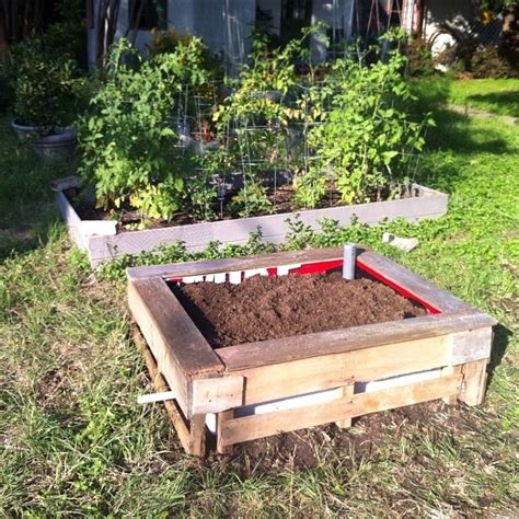 pallet garden bed pallet wicking bed with seat gardens and garden art