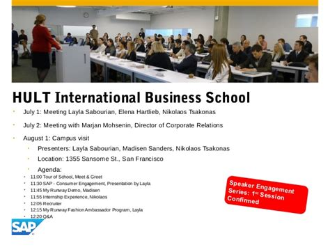 Hult One Year Mba Schedule by Sap My Runway Roadshow