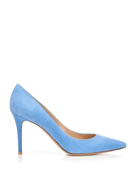 light blue suede pumps gianvito rossi business point toe suede pumps in blue lyst