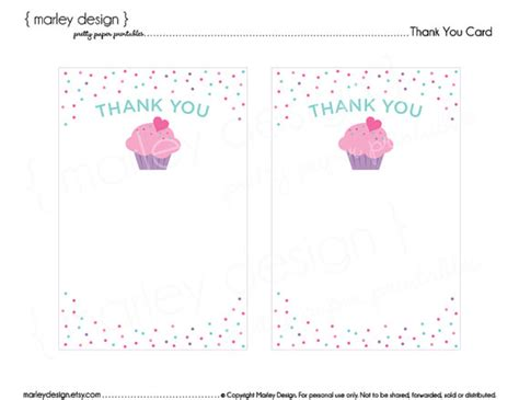 free printable thank you cards birthday party cupcake birthday party printable thank you card thank you