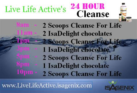 24 Hour System Detox by Isagenix Cleanse Day Schedule