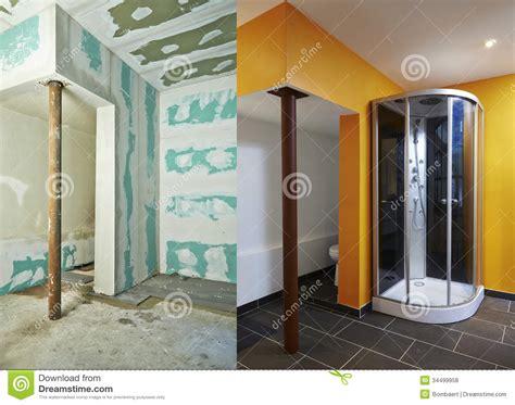 bathroom construction drywall plasterboard and bathroom royalty free stock