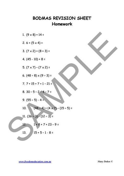 bodmas worksheets year 7 year 5 maths bodmas freedom education