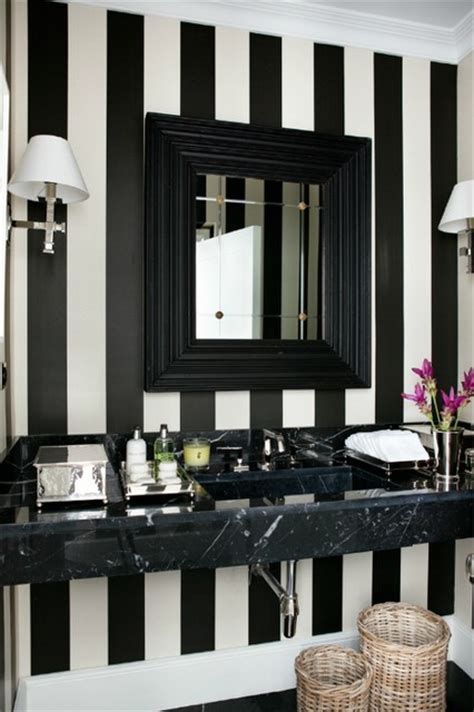 Bathroom Wallpaper Stripes by 71 Cool Black And White Bathroom Design Ideas Digsdigs