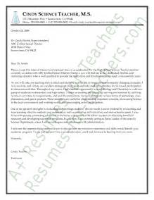 Cover Letter For Experienced Teachers by Science Cover Letter Sle Cover Letter Ideas