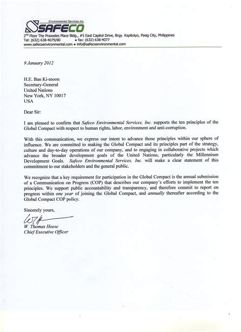 Business Letter Sle In The Philippines Safeco Environmental Services Inc Un Global Compact