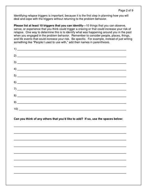 Detox Handout by Relapse Prevention Plan Doc Aod Activity Ideas
