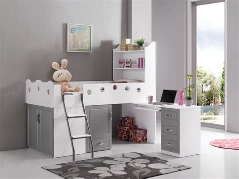 lit combine lit combin 233 pour enfant blanc et gris lit combin 233 pour enfants et gris