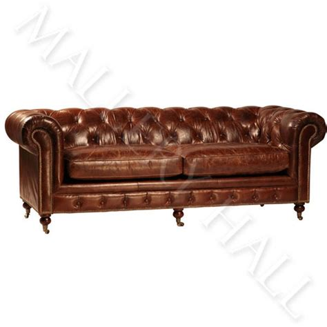 vintage leather chesterfield sofa vintage leather sofa chesterfield styletufted buttoned castor ebay