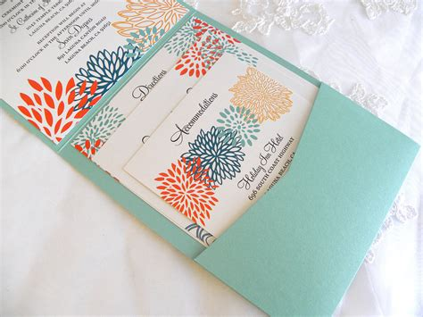 Handcrafted Stationery - aqua coral gold wedding invitations handmade wedding