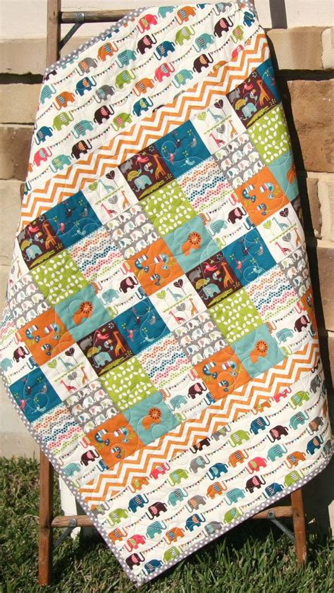 Animal Patchwork Quilt Patterns - organic baby quilt safari soiree birch fabrics all