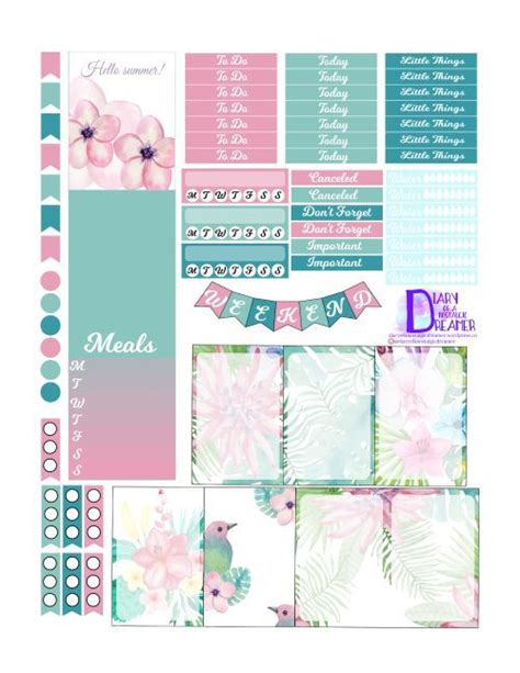 happy planner printable free tropical summer kit freebie for happy planner free