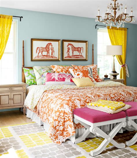 bright color schemes for bedrooms mix and chic home tour a textile designer s colorful home